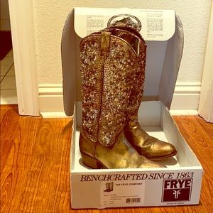 Frye Magnificent Deborah Studded Tall Gold Boots